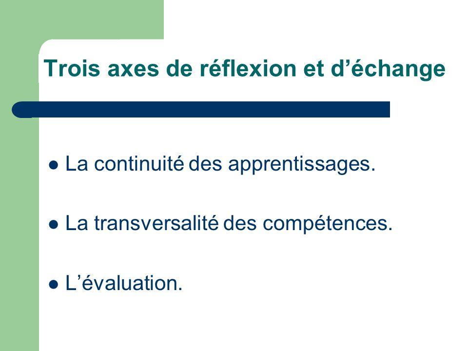 Trois axes de réflexion et d'échange