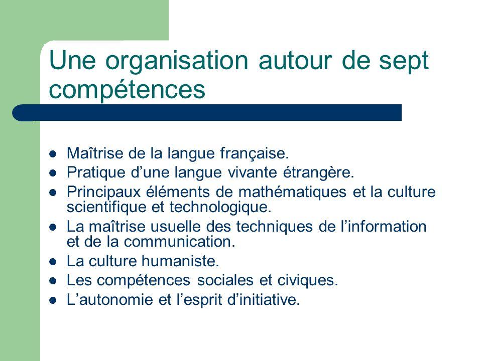 Une organisation autour de sept compétences
