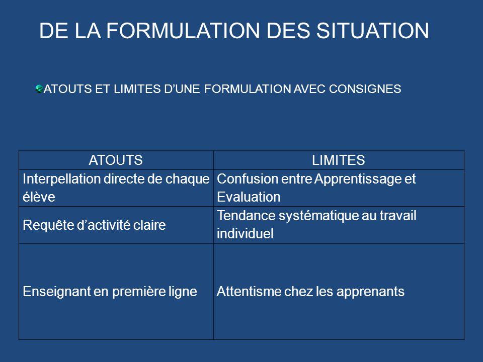 DE LA FORMULATION DES SITUATION