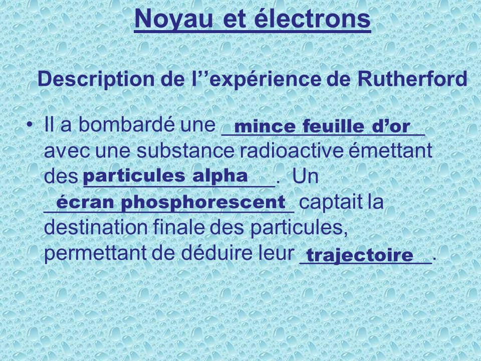 Noyau et électrons Description de l''expérience de Rutherford