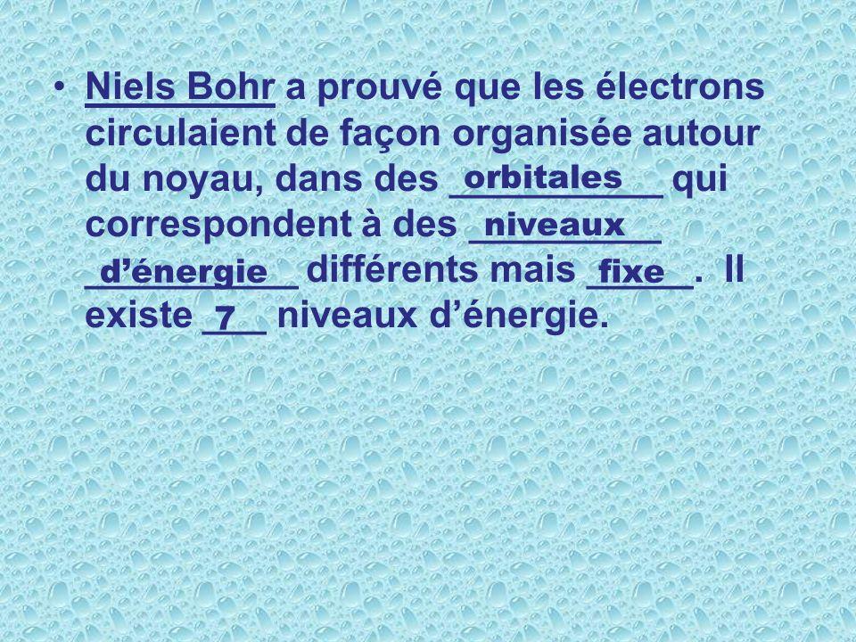 Niels Bohr a prouvé que les électrons circulaient de façon organisée autour du noyau, dans des __________ qui correspondent à des _________ __________ différents mais _____. Il existe ___ niveaux d'énergie.