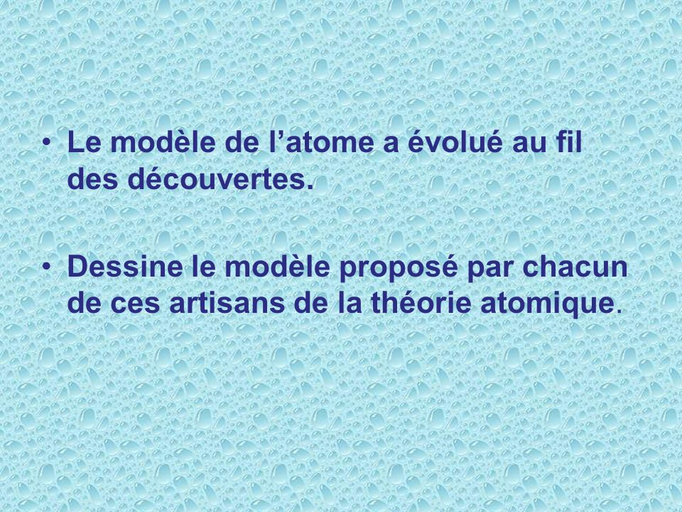 Le modèle de l'atome a évolué au fil des découvertes.