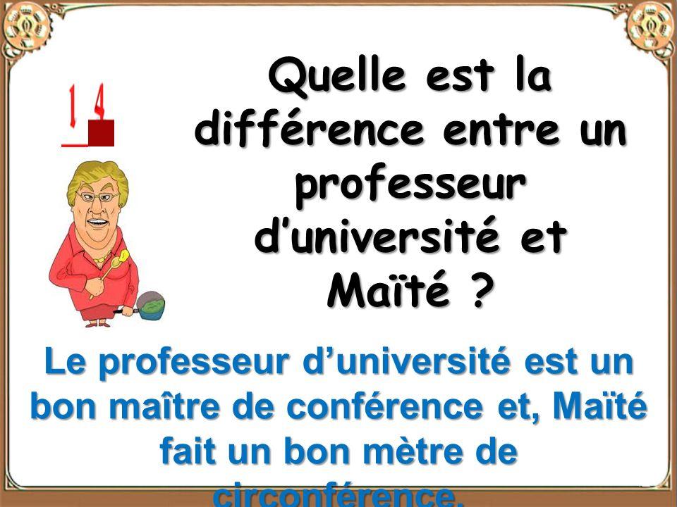Quelle est la différence entre un professeur d'université et Maïté