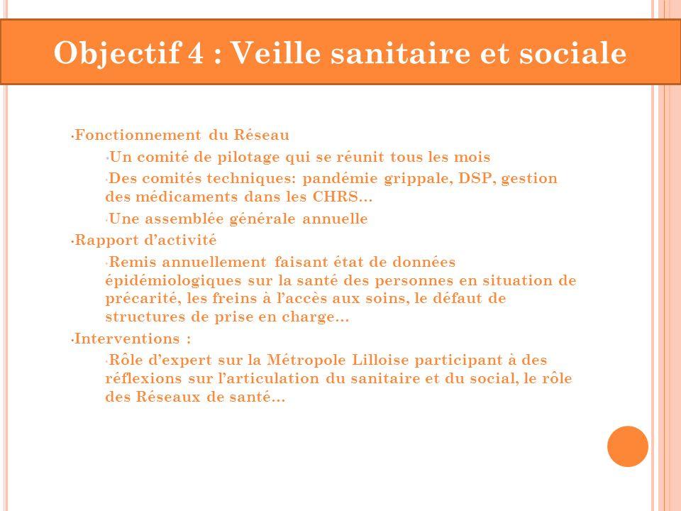 Objectif 4 : Veille sanitaire et sociale