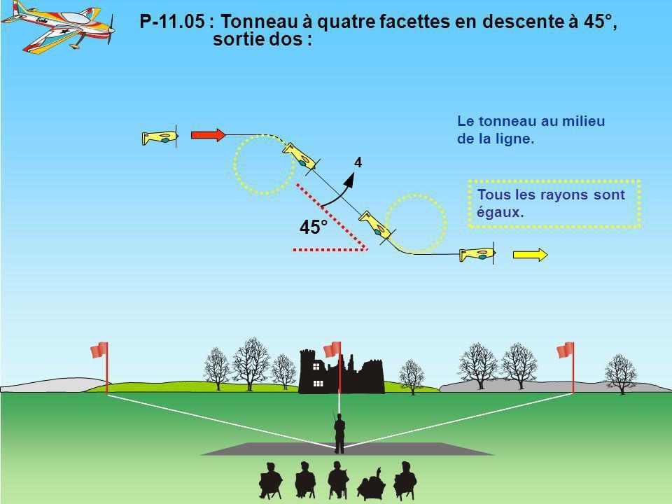 P-11.05 : Tonneau à quatre facettes en descente à 45°, sortie dos :