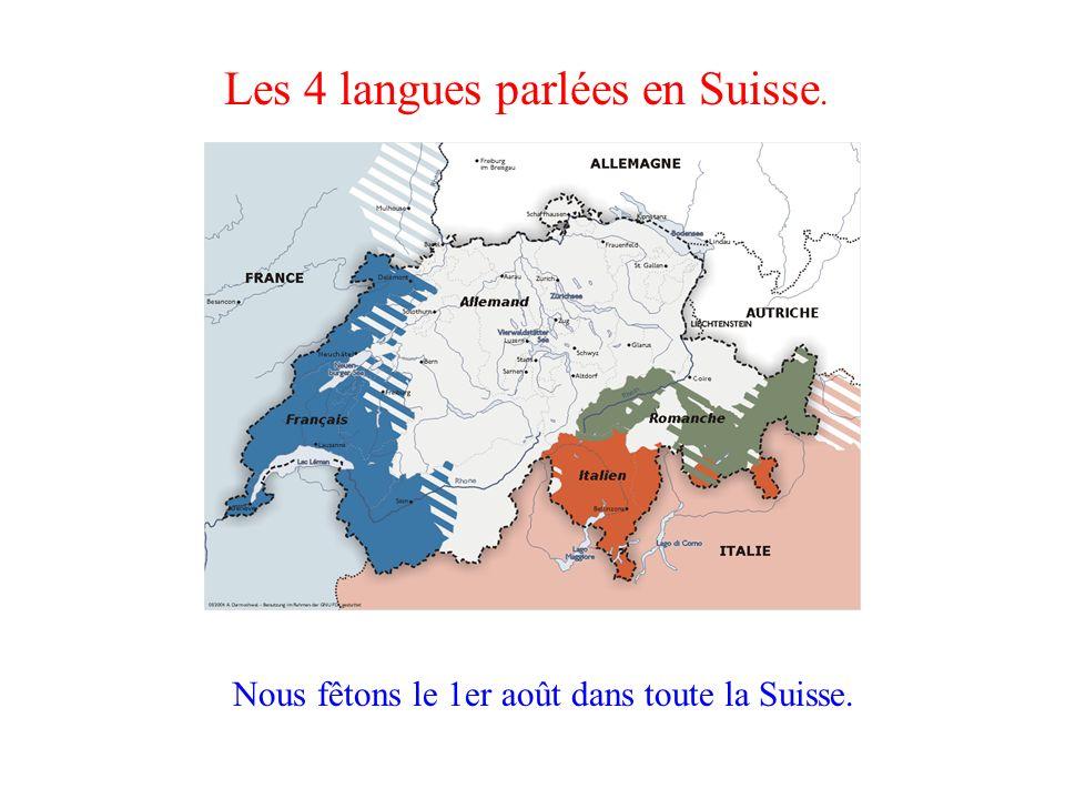Les 4 langues parlées en Suisse.