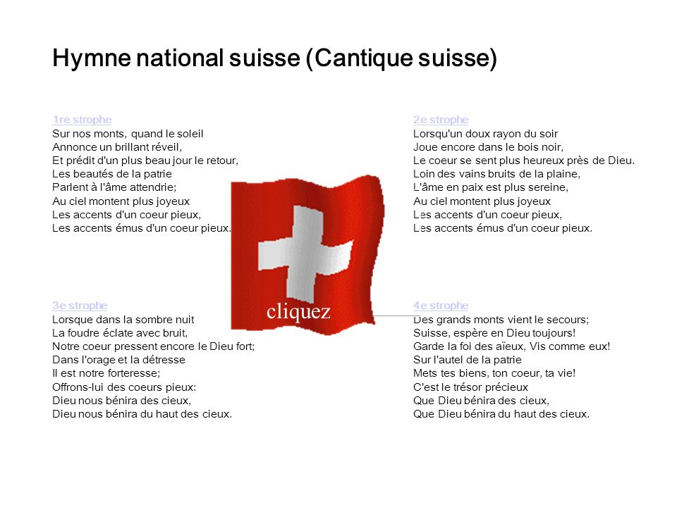 Hymne national suisse (Cantique suisse)