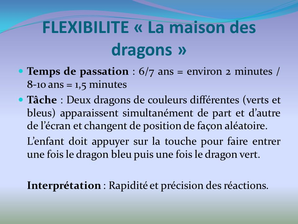 FLEXIBILITE « La maison des dragons »