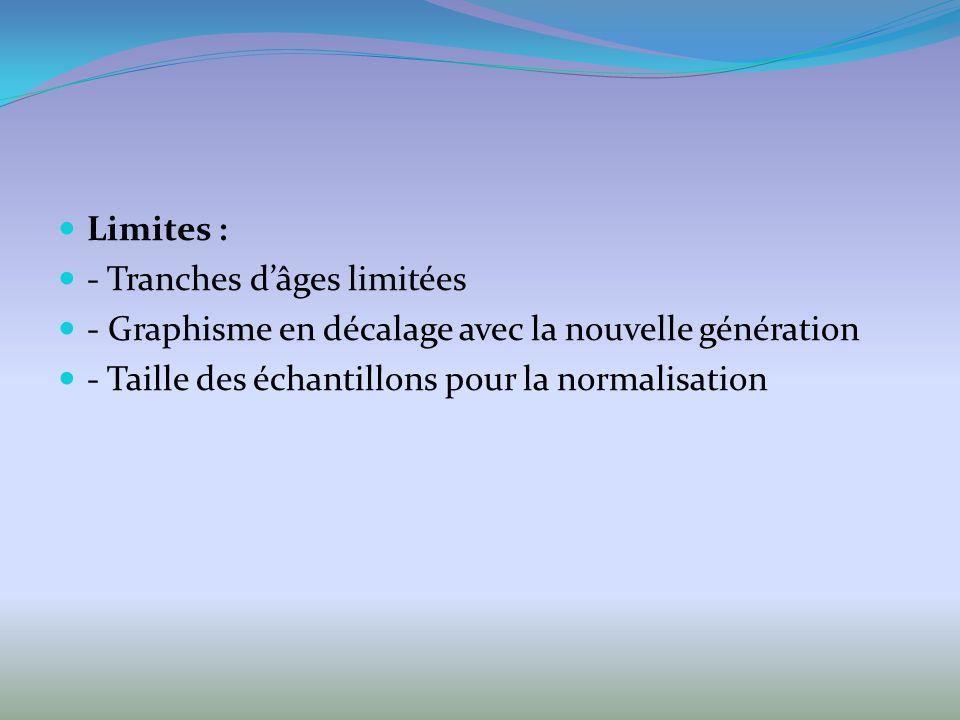 Limites : - Tranches d'âges limitées. - Graphisme en décalage avec la nouvelle génération.