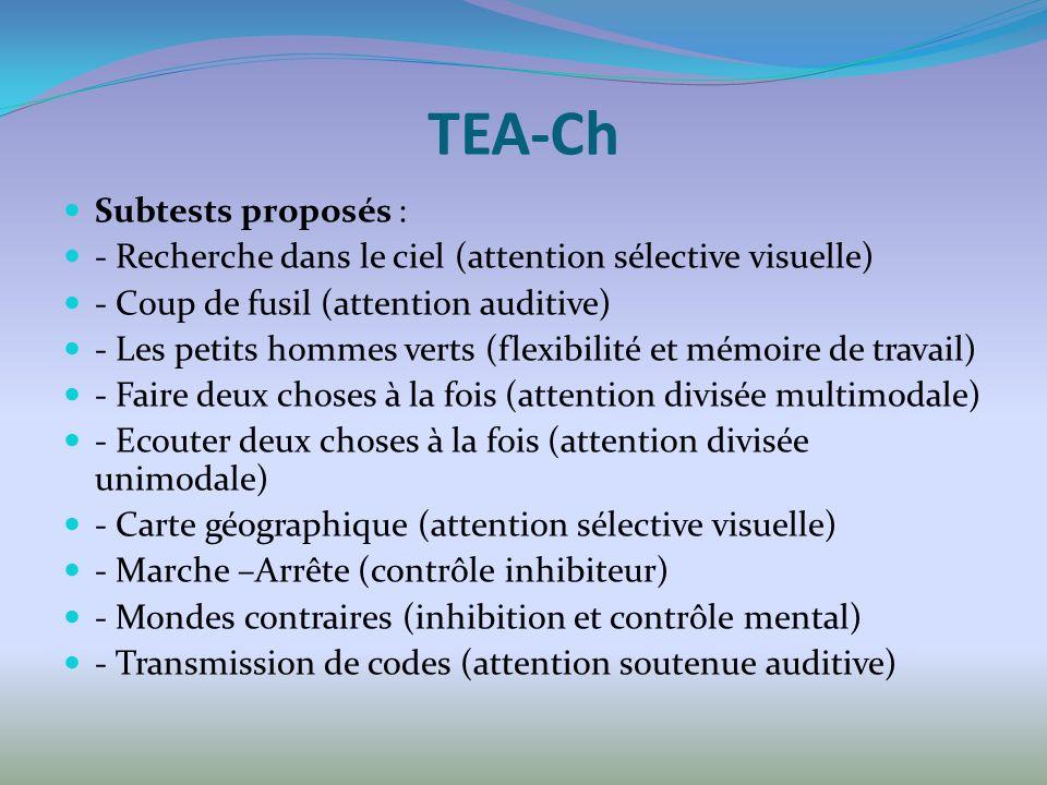 TEA-Ch Subtests proposés :