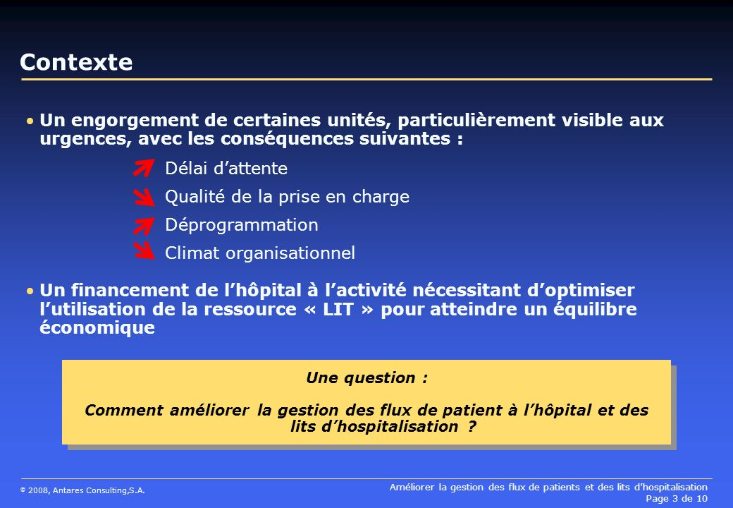 Contexte Un engorgement de certaines unités, particulièrement visible aux urgences, avec les conséquences suivantes :