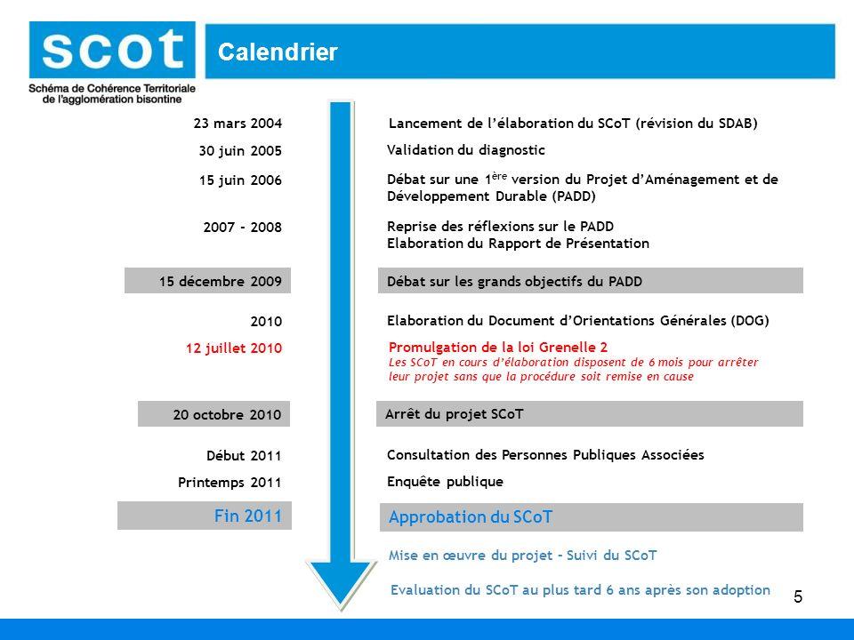 Calendrier Fin 2011 Approbation du SCoT 23 mars 2004