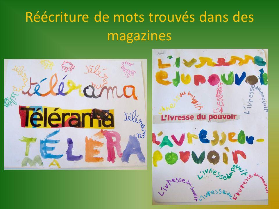 Réécriture de mots trouvés dans des magazines