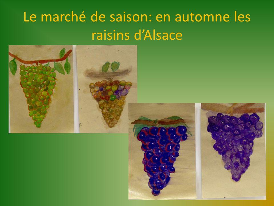 Le marché de saison: en automne les raisins d'Alsace