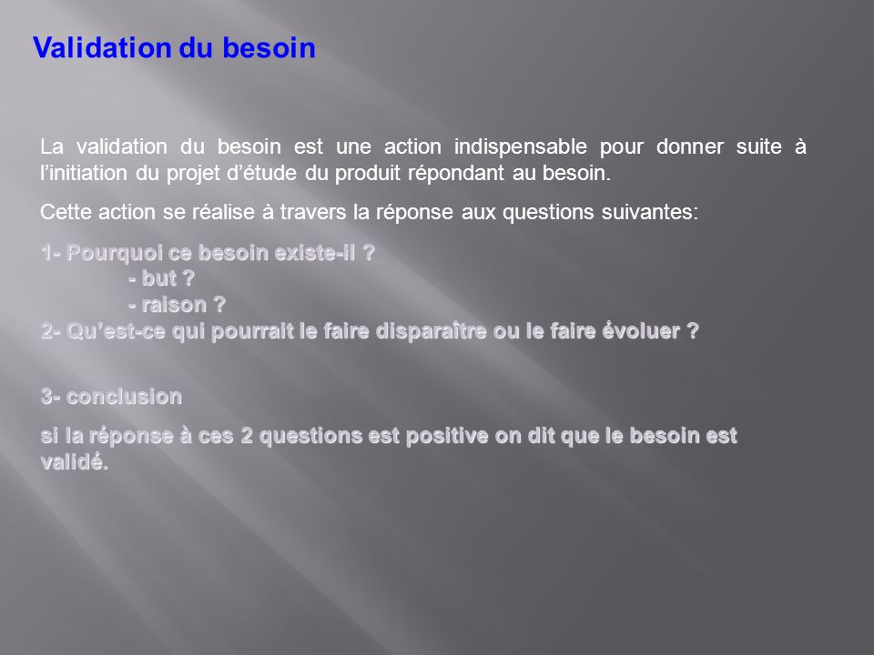 Validation du besoin