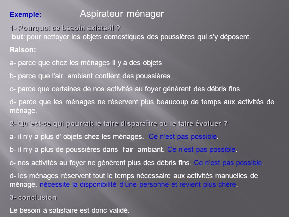 Exemple: Aspirateur ménager