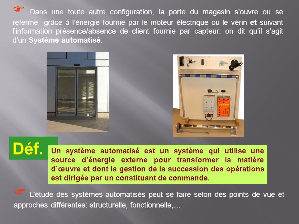  Dans une toute autre configuration, la porte du magasin s'ouvre ou se referme grâce à l'énergie fournie par le moteur électrique ou le vérin et suivant l'information présence/absence de client fournie par capteur: on dit qu'il s'agit d'un Système automatisé.