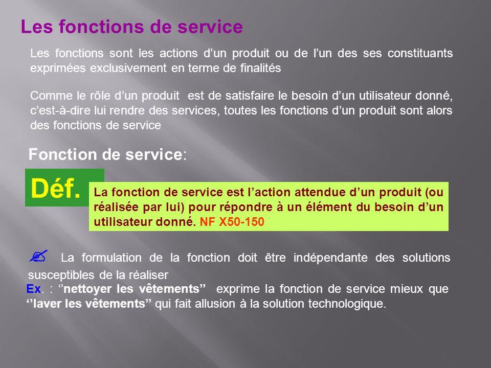 Les fonctions de service