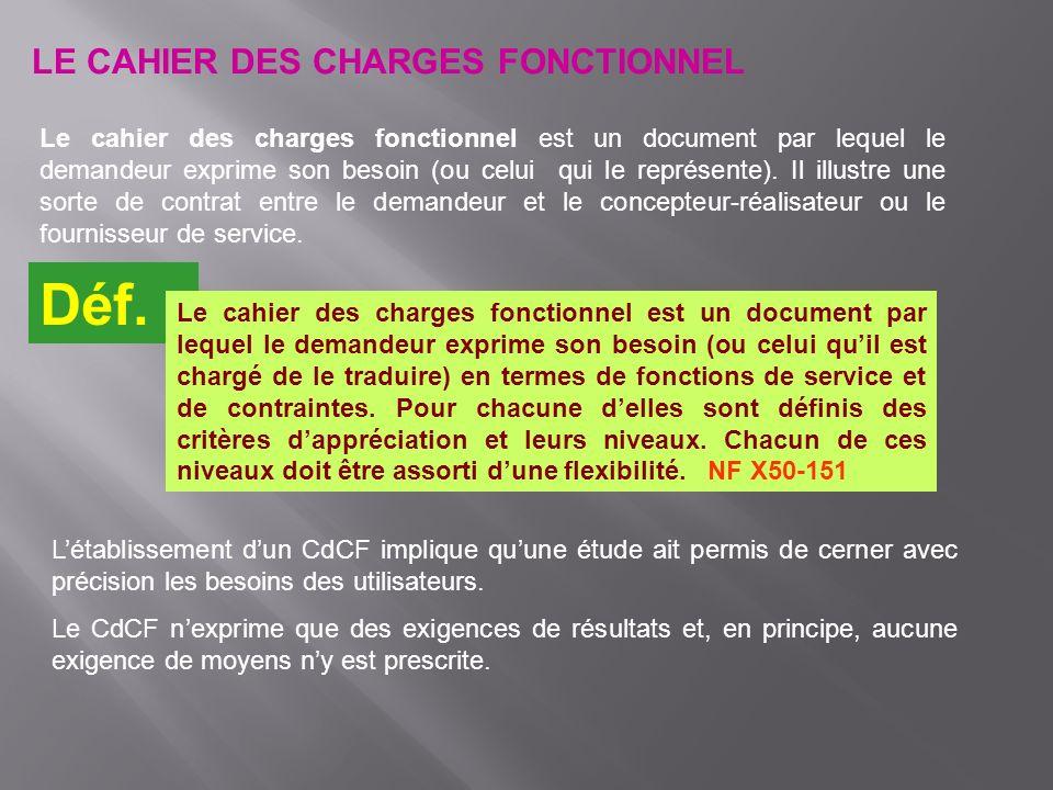 Déf. LE CAHIER DES CHARGES FONCTIONNEL