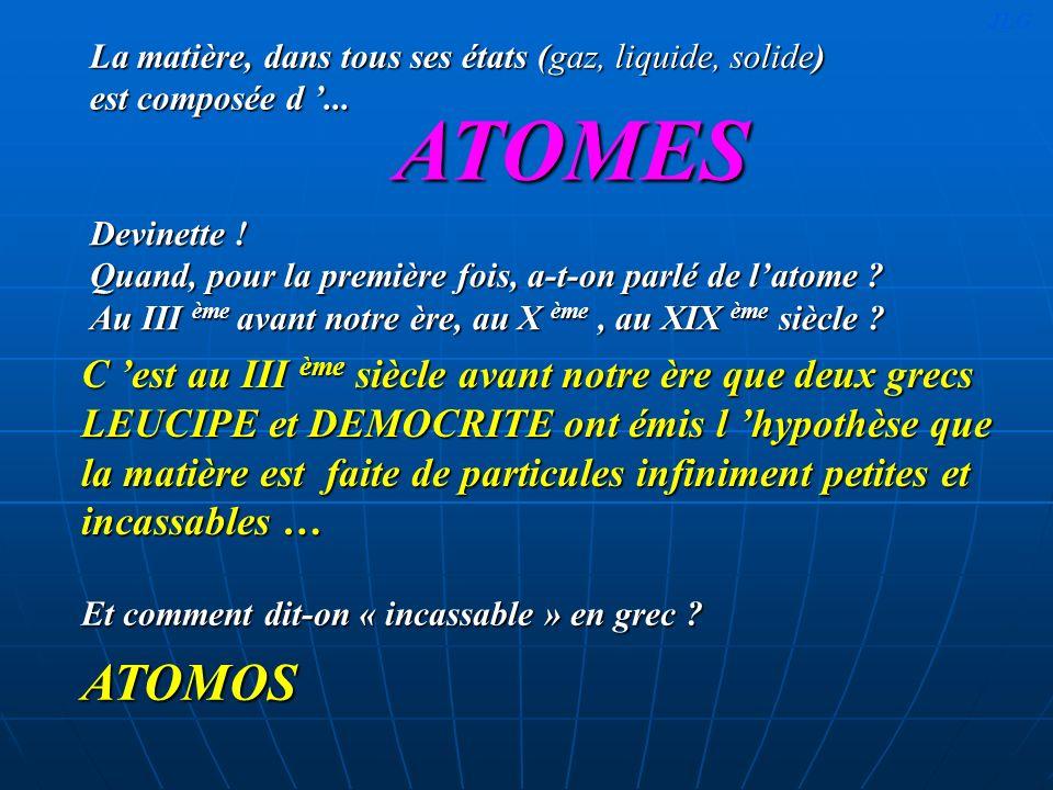 JLG La matière, dans tous ses états (gaz, liquide, solide) est composée d '... ATOMES.