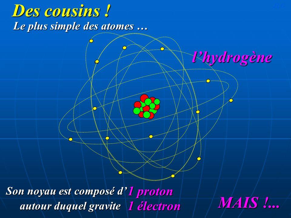 Des cousins ! l'hydrogène MAIS !... 1 proton 1 électron