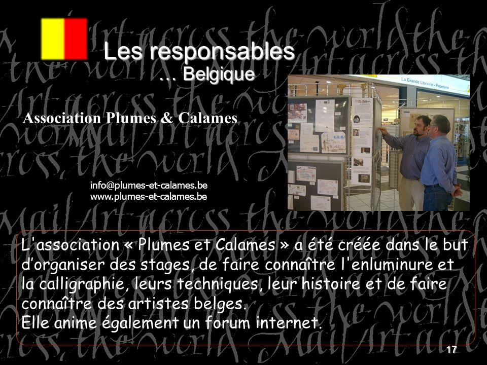 Les responsables … Belgique Association Plumes & Calames