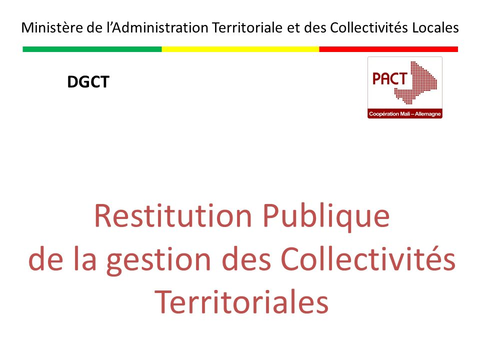 de la gestion des Collectivités Territoriales