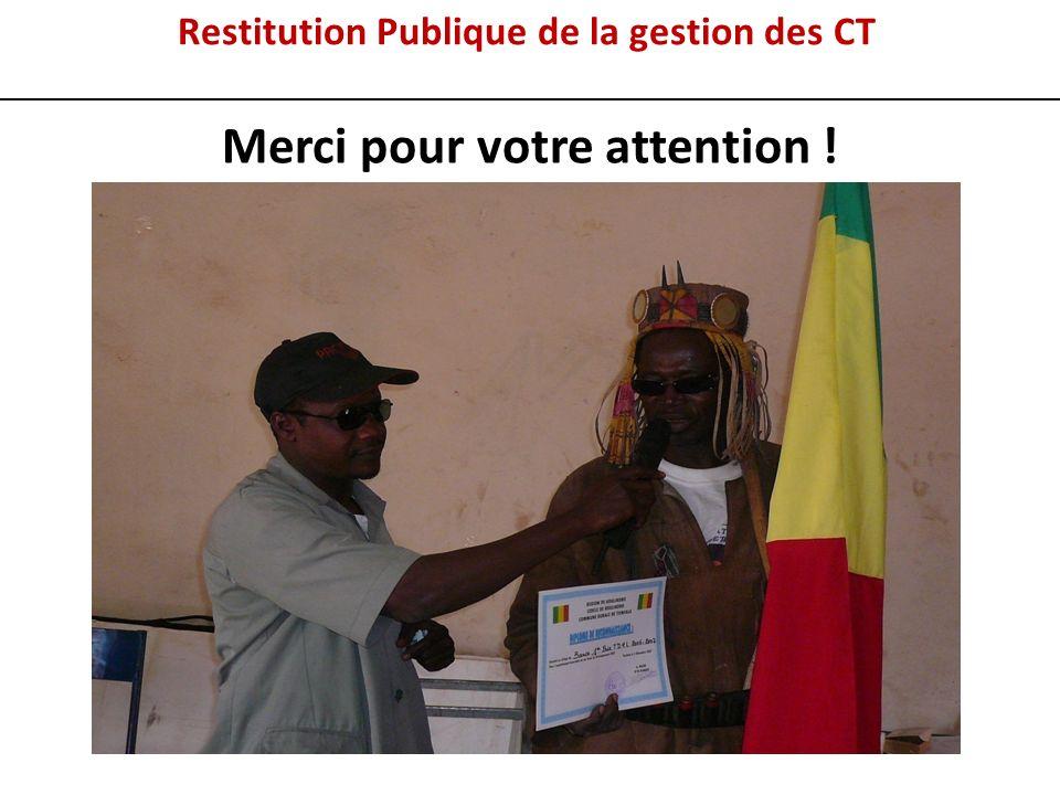 Restitution Publique de la gestion des CT Merci pour votre attention !