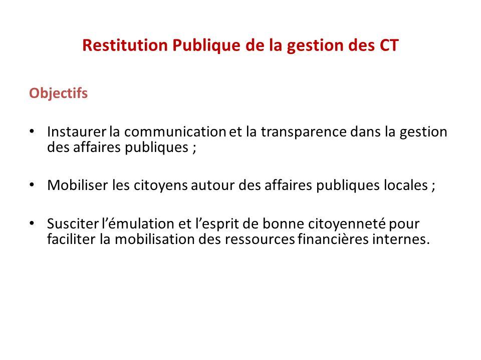 Restitution Publique de la gestion des CT