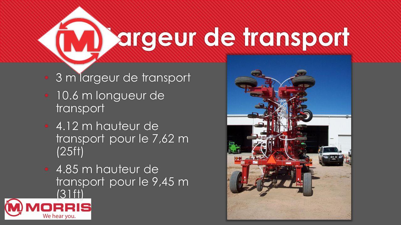 Largeur de transport 3 m largeur de transport