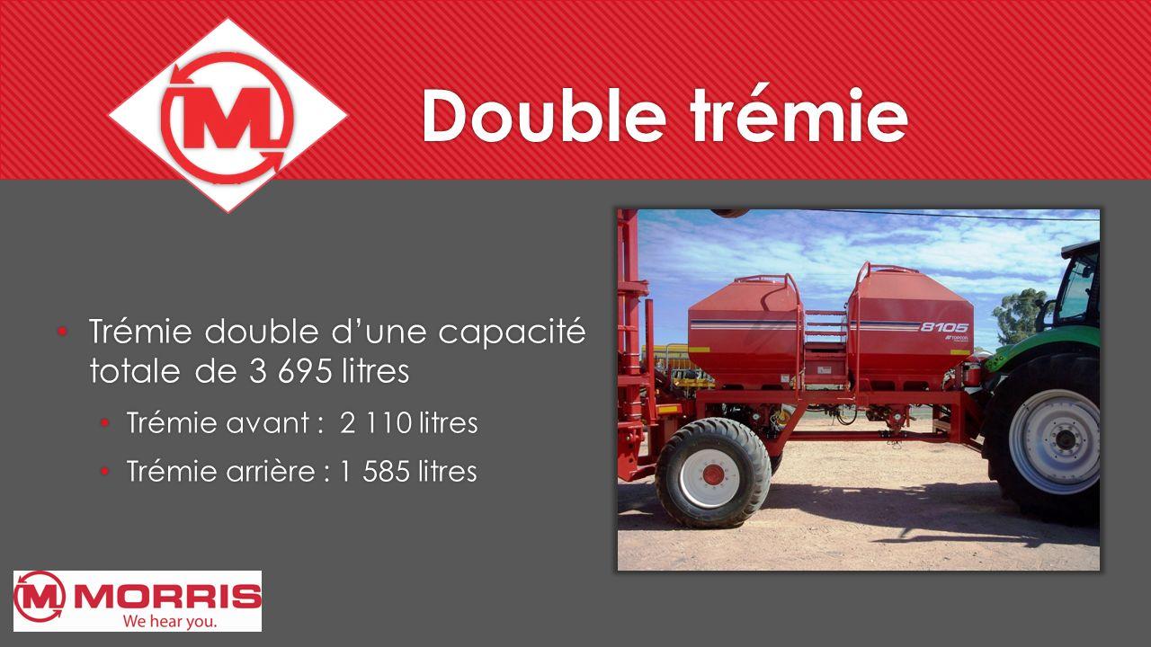 Double trémie Trémie double d'une capacité totale de 3 695 litres