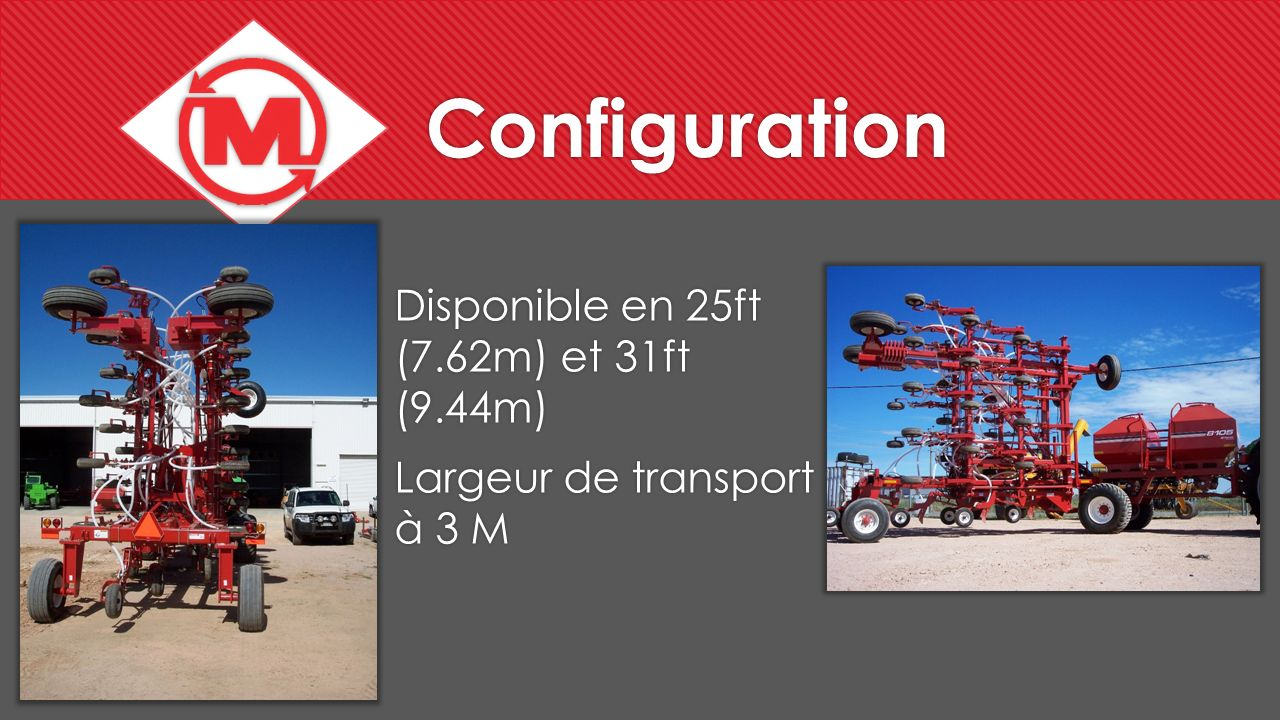 Configuration Disponible en 25ft (7.62m) et 31ft (9.44m)