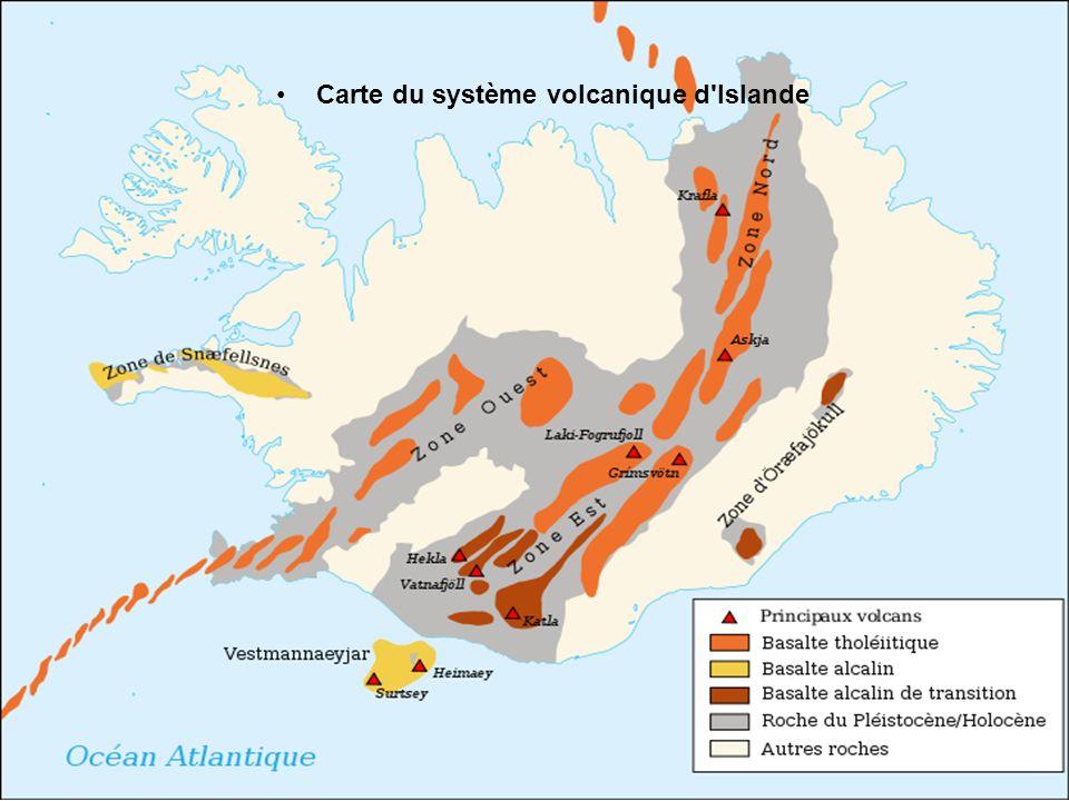 Carte du système volcanique d Islande