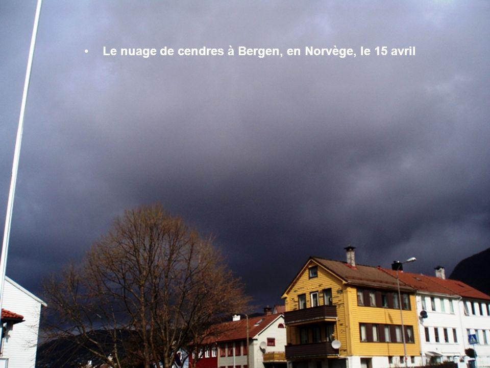Le nuage de cendres à Bergen, en Norvège, le 15 avril
