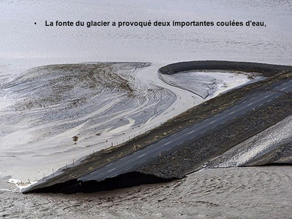 La fonte du glacier a provoqué deux importantes coulées d eau,
