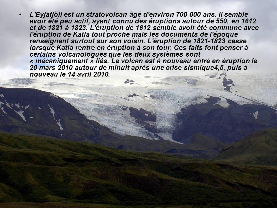 L Eyjafjöll est un stratovolcan âgé d environ 700 000 ans