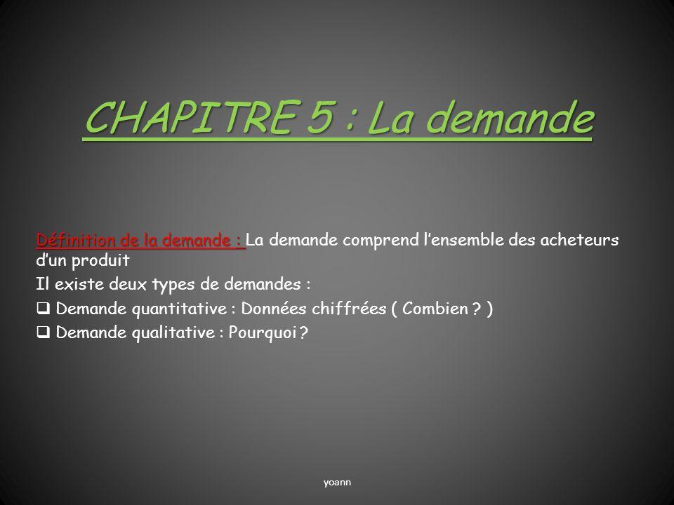 CHAPITRE 5 : La demande Définition de la demande : La demande comprend l'ensemble des acheteurs d'un produit.