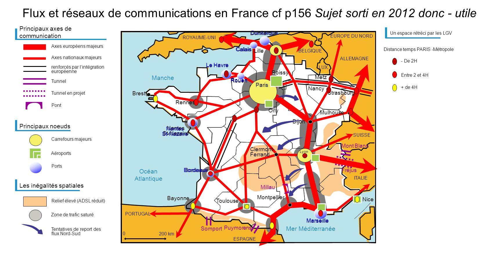 Flux et réseaux de communications en France cf p156 Sujet sorti en 2012 donc - utile