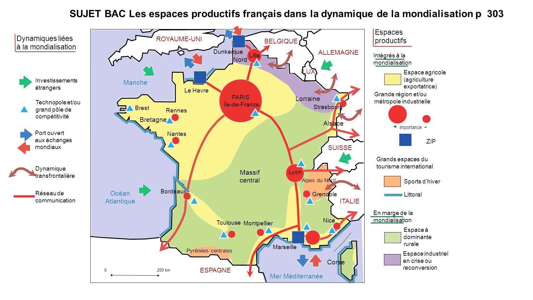 SUJET BAC Les espaces productifs français dans la dynamique de la mondialisation p 303