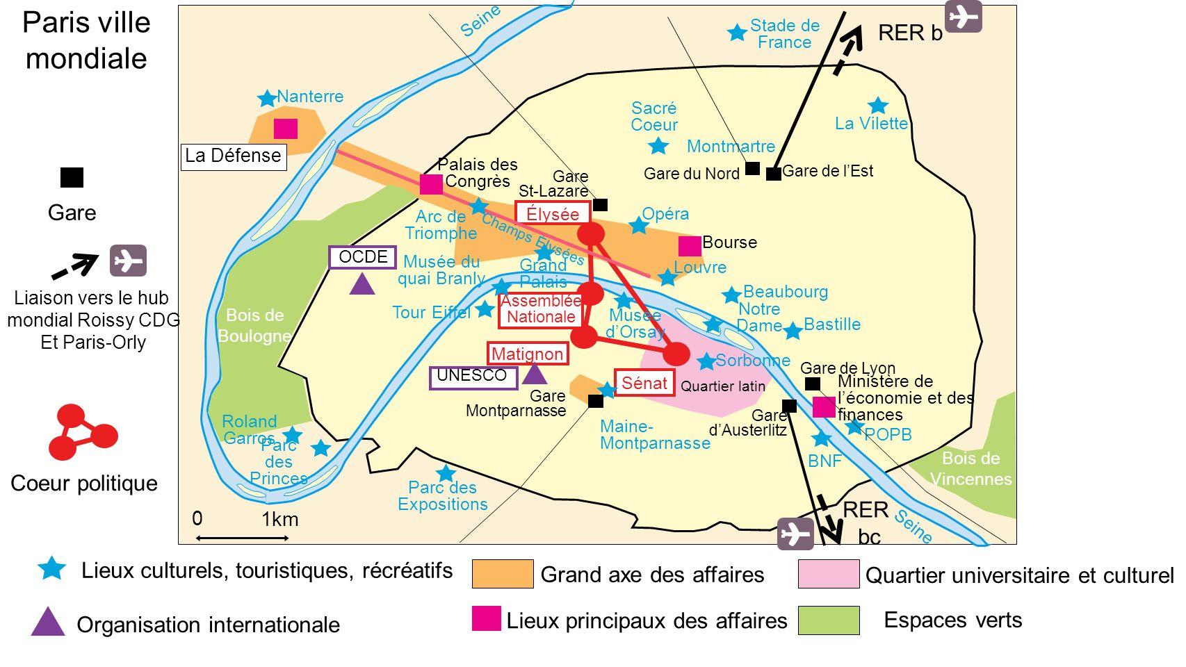 Paris ville mondiale RER b Gare Coeur politique RER bc