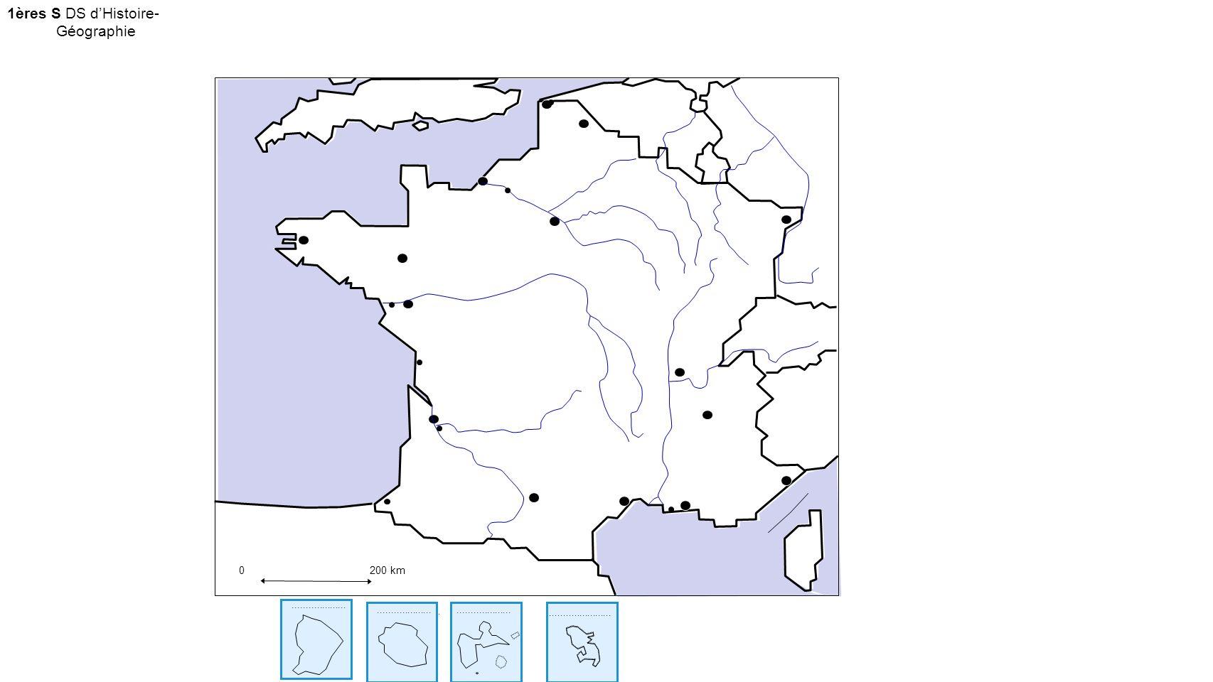 1ères S DS d'Histoire- Géographie 0 200 km .......................