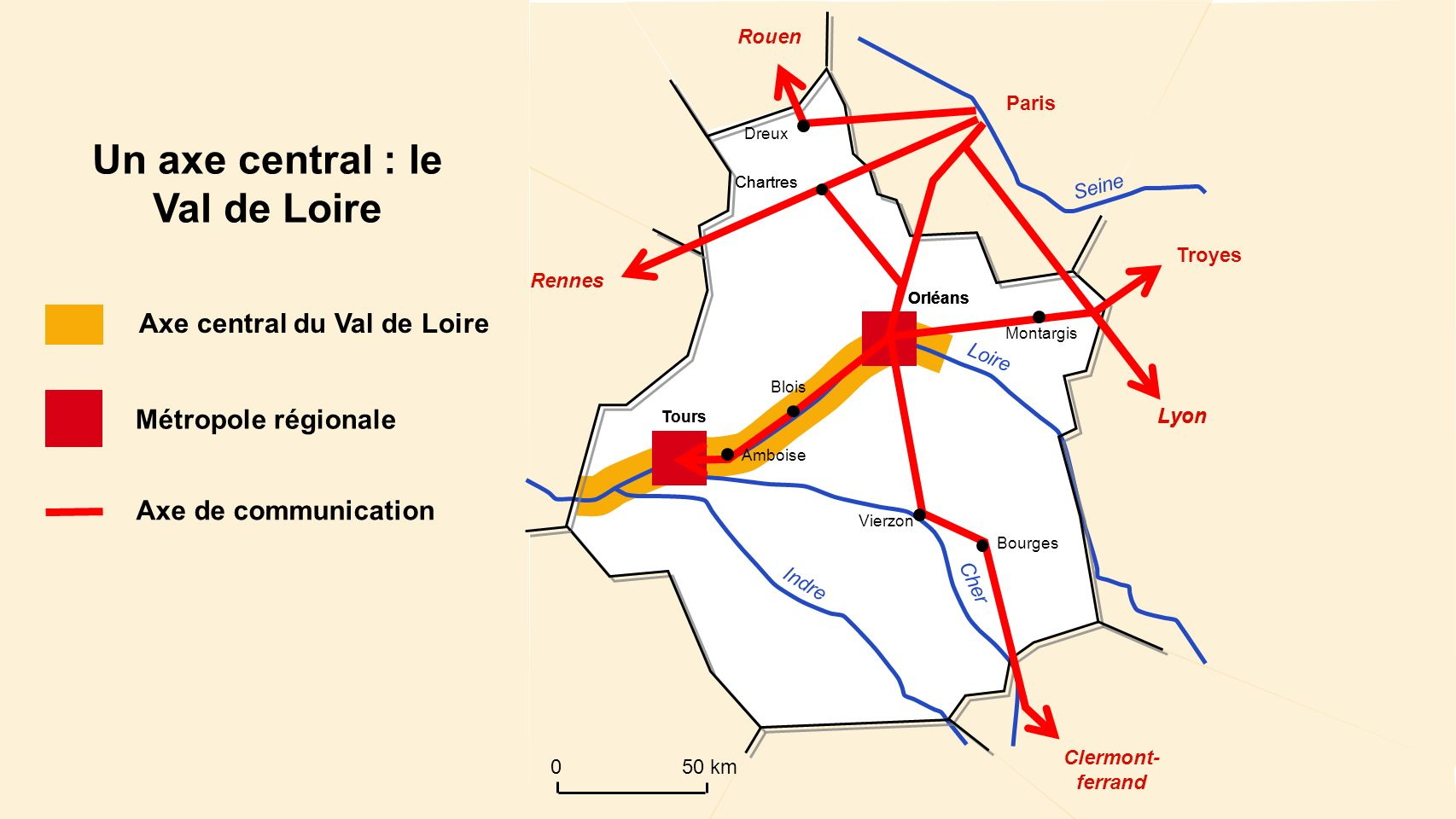 structure spatiale: Un axe central, le Val de Loire
