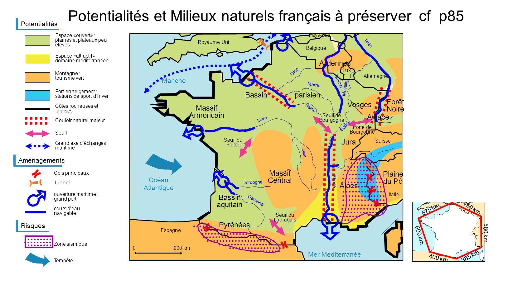 Potentialités et Milieux naturels français à préserver cf p85