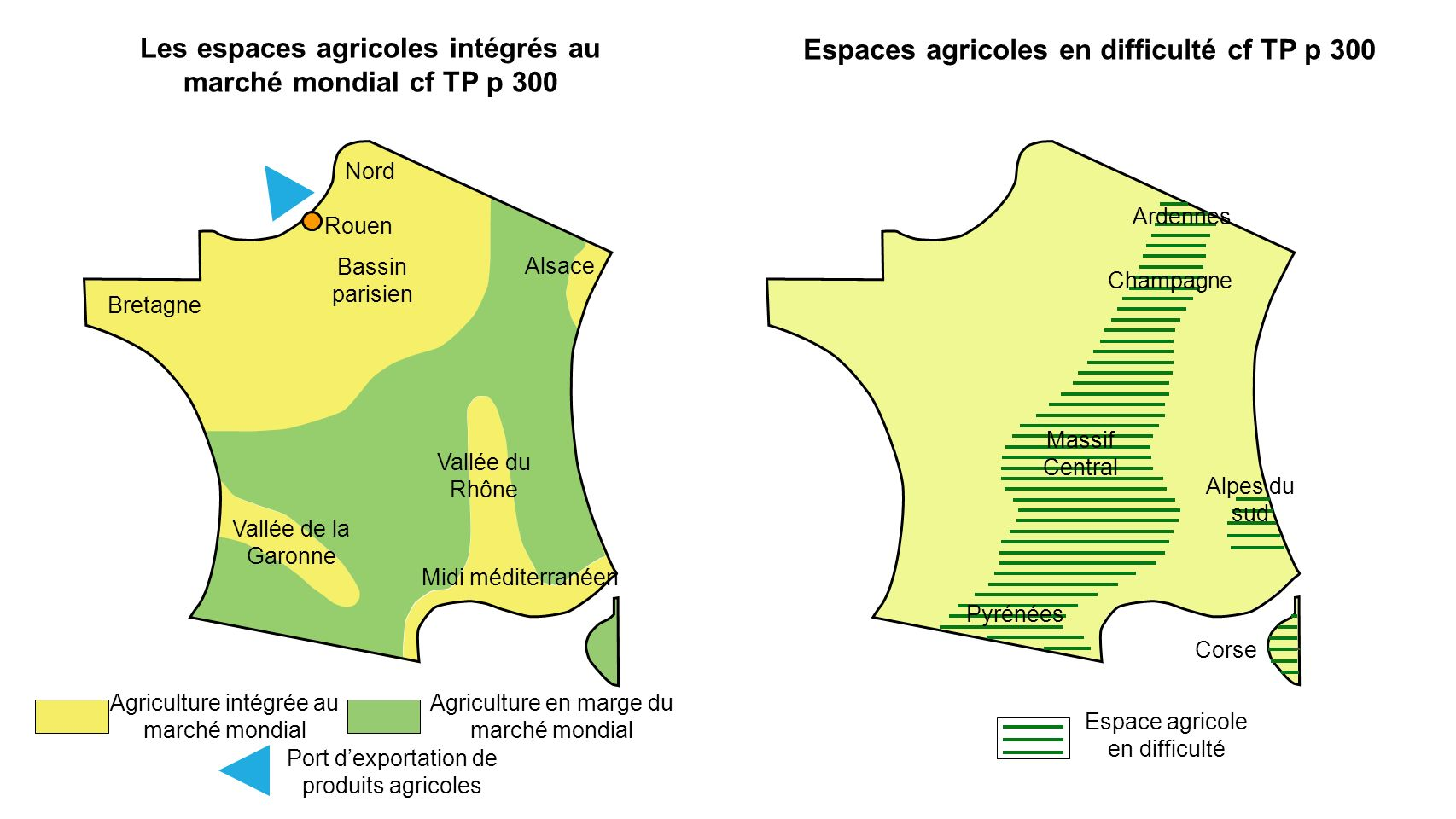 Les espaces agricoles intégrés au marché mondial cf TP p 300