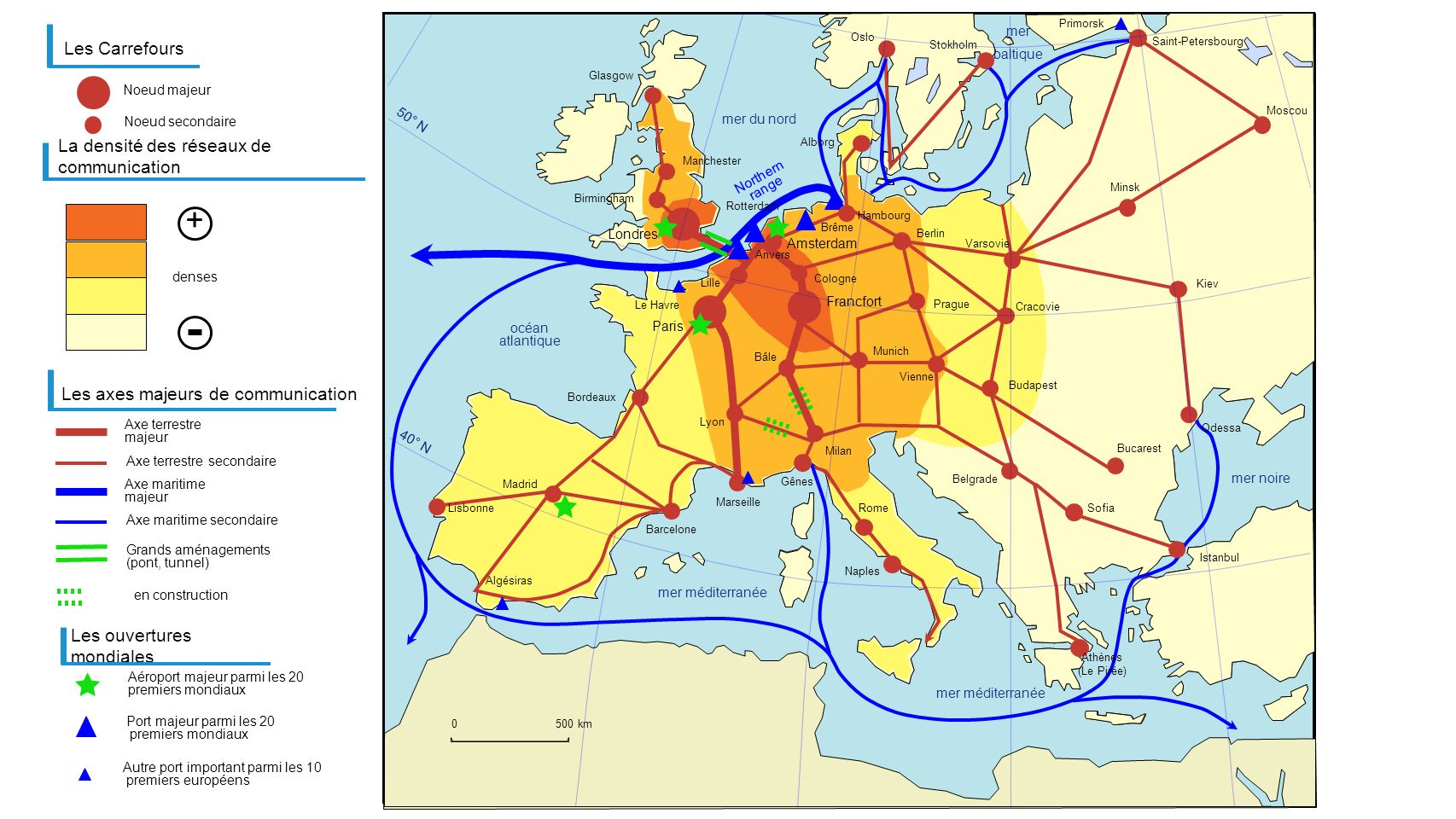 + Les Carrefours La densité des réseaux de communication