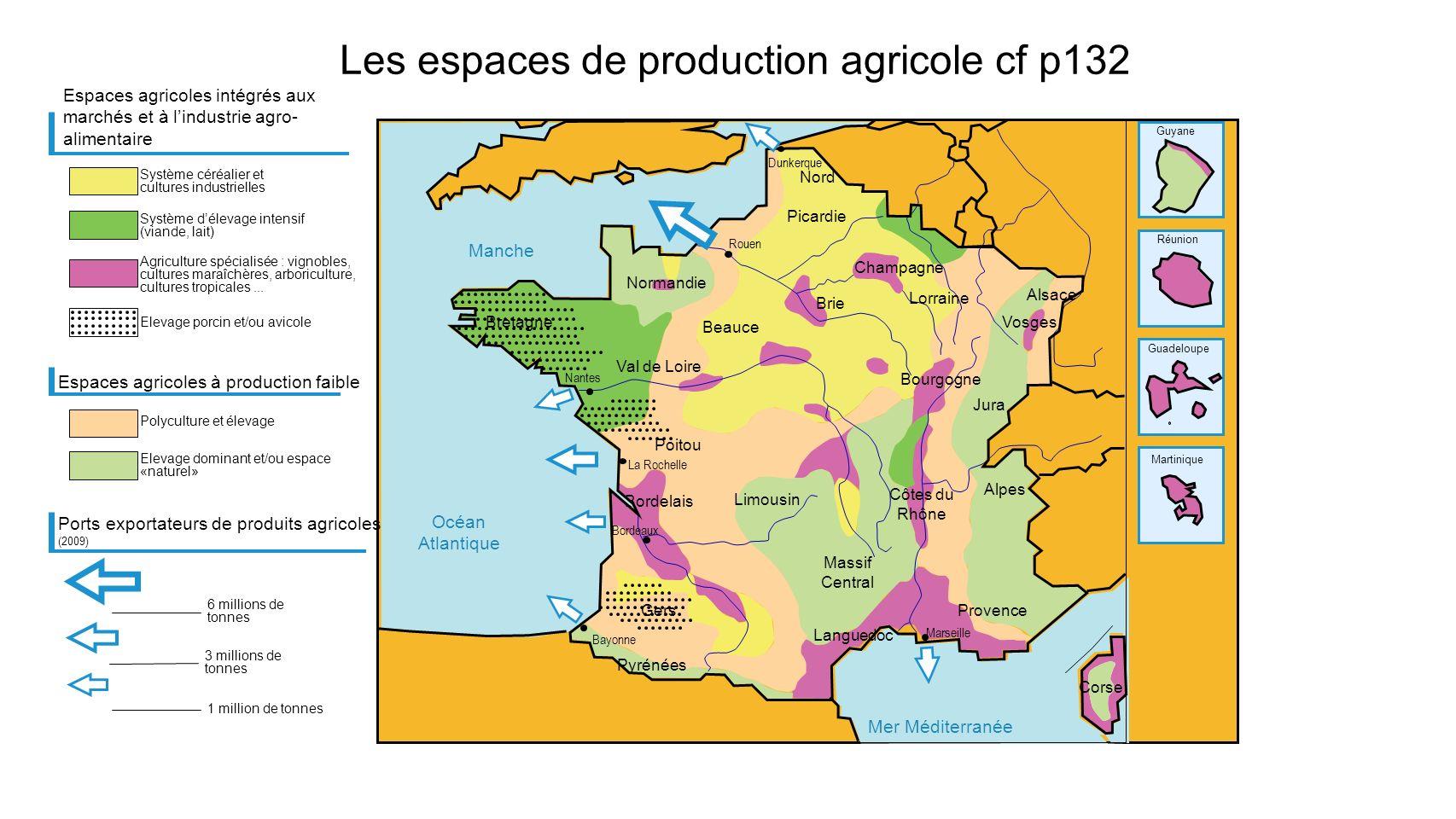 Les espaces de production agricole cf p132