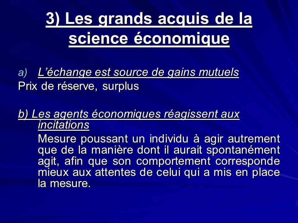 3) Les grands acquis de la science économique