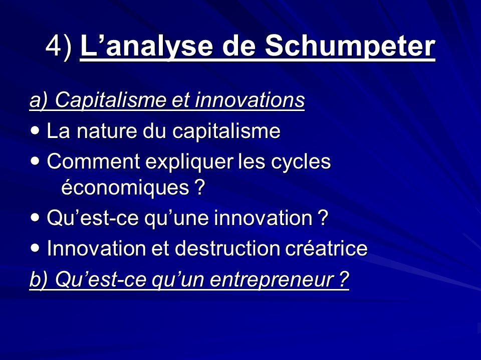4) L'analyse de Schumpeter