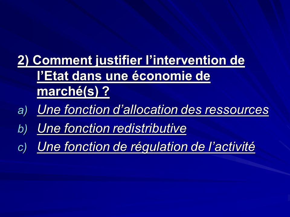 2) Comment justifier l'intervention de l'Etat dans une économie de marché(s)
