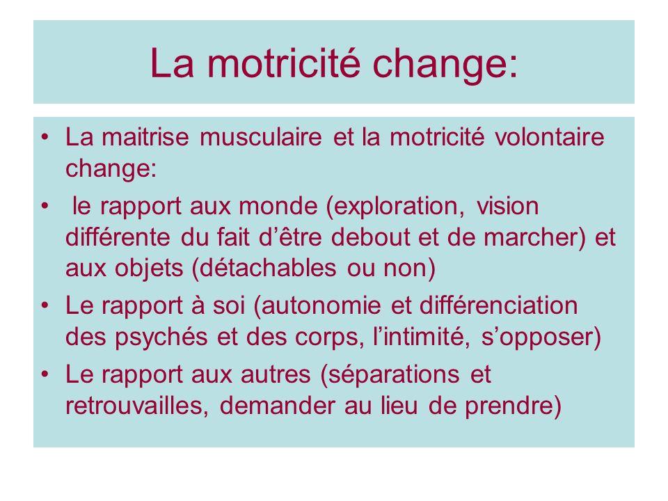 La motricité change: La maitrise musculaire et la motricité volontaire change: